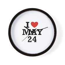 I Heart May 24 Wall Clock
