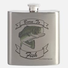 born to fish bass Flask