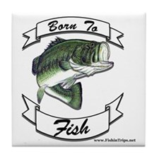 born to fish bass Tile Coaster