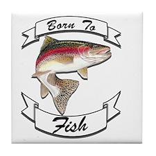 born to fish trout dark Tile Coaster