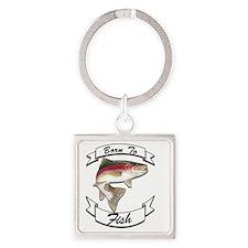 born to fish trout dark Square Keychain