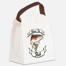 born to fish trout dark Canvas Lunch Bag