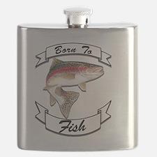 born to fish trout dark Flask