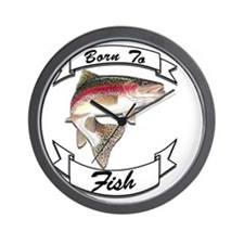 born to fish trout dark Wall Clock