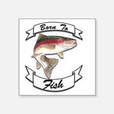 "born to fish trout dark Square Sticker 3"" x 3"""