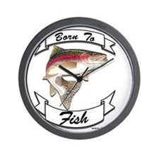 born to fish trout Wall Clock