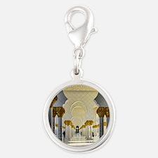 zayed mosque corridor 1 Silver Round Charm