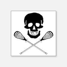 "Skull lacrosse Square Sticker 3"" x 3"""
