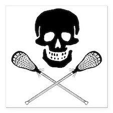 "Skull lacrosse Square Car Magnet 3"" x 3"""