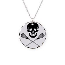 Skull lacrosse Necklace Circle Charm