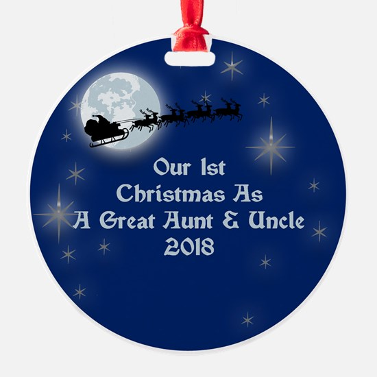 1St Christmas As Great Aunt Uncle 2018 Ornament