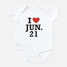 I Heart June 21 Infant Bodysuit