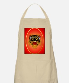 ornament_ovalBlack n Gold Chinese Dragon Fac Apron