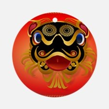 CalenderBlack n Gold Chinese Dragon Round Ornament