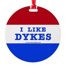 I Like Dykes Button Ornament