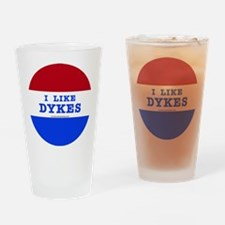 I Like Dykes Button Drinking Glass