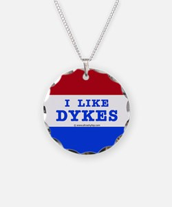 I Like Dykes Button Necklace