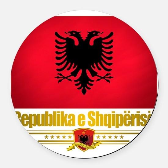 Albania (Flag 10) 2 Round Car Magnet