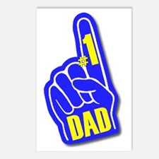 Number 1 Dad Hand Blue Ye Postcards (Package of 8)