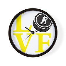 yellow, Hockey LOVE Wall Clock