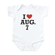 I Heart August 7 Infant Bodysuit