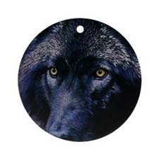Wolf in moonlight Round Ornament