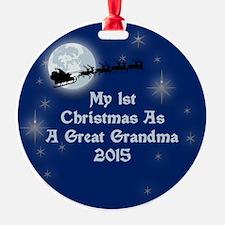 1St Christmas As A Great Grandma 2015 Ornament