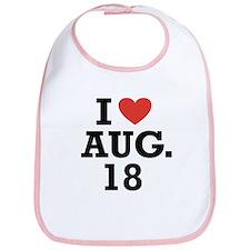 I Heart August 18 Bib