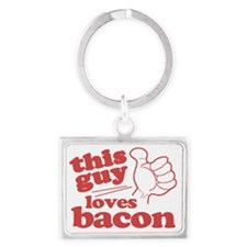This Guy Loves Bacon Landscape Keychain