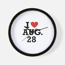 I Heart August 28 Wall Clock