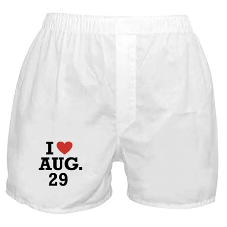 I Heart August 29 Boxer Shorts
