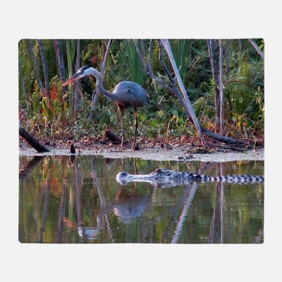 Great Blue Heron and Gator Throw Blanket