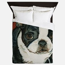 boston pup squared Queen Duvet