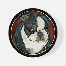 boston pup squared Wall Clock