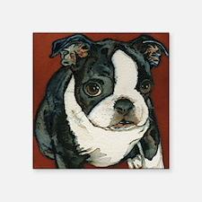 """boston pup squared Square Sticker 3"""" x 3"""""""