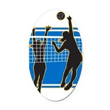Volleyball Player Spiking Blocking Oval Car Magnet