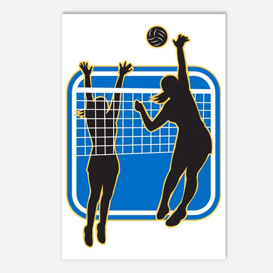 Volleyball Player Spiking Postcards (Package of 8)