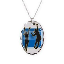 Volleyball Player Spiking Bloc Necklace Oval Charm