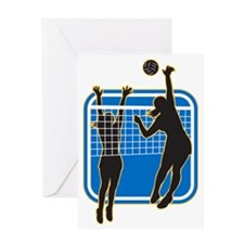 Volleyball Player Spiking Blocking B Greeting Card