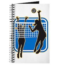 Volleyball Player Spiking Blocking Ball Journal