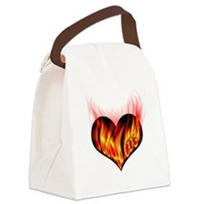 heart_on_for_you_flames Canvas Lunch Bag