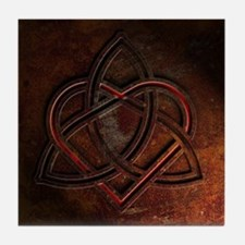 Celtic Knotwork Rust Valentine Heart Tile Coaster