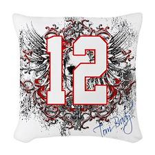 Tom Brady Grunge Skull Woven Throw Pillow
