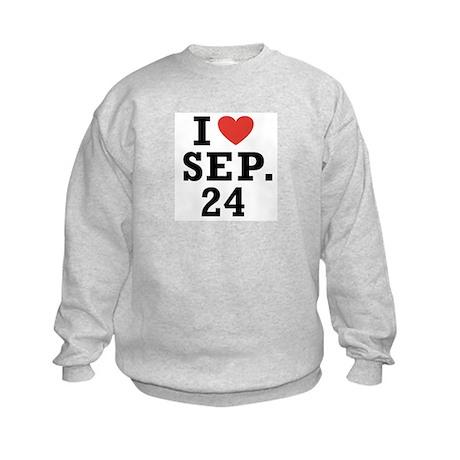 I Heart September 24 Kids Sweatshirt