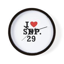 I Heart September 29 Wall Clock
