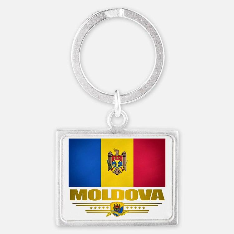Moldova (Flag 10) 2 Landscape Keychain