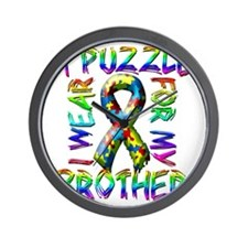 I Wear A Puzzle for my Brother Wall Clock