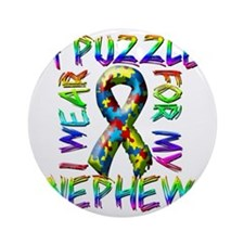 I Wear A Puzzle for my Nephew Round Ornament