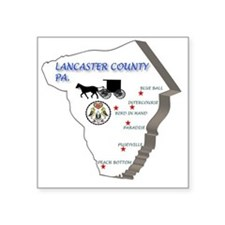 "Lancaster county PA Square Sticker 3"" x 3"""