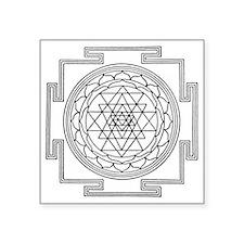 "1038px-Sri_Yantra_256bw man Square Sticker 3"" x 3"""